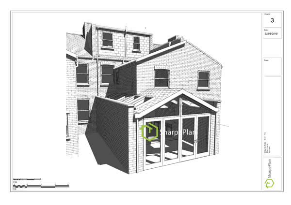 3d rear extension drawings plans